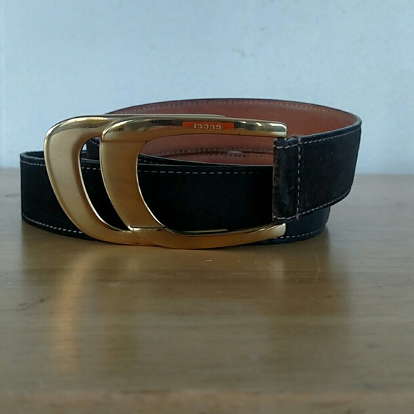 Gucci Other - Vintage Gucci Brown Suede Belt-Gold-Tone Buckle